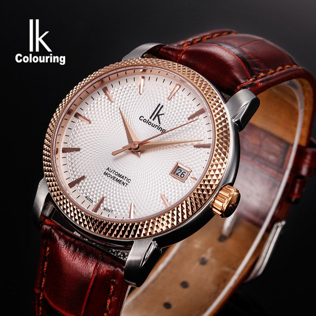 IK Mens Watches Top Brand Luxury Sapphire Crystal Automatic Mechanical Male Clock Auto Date 10ATM Leather Strap Wristwatch