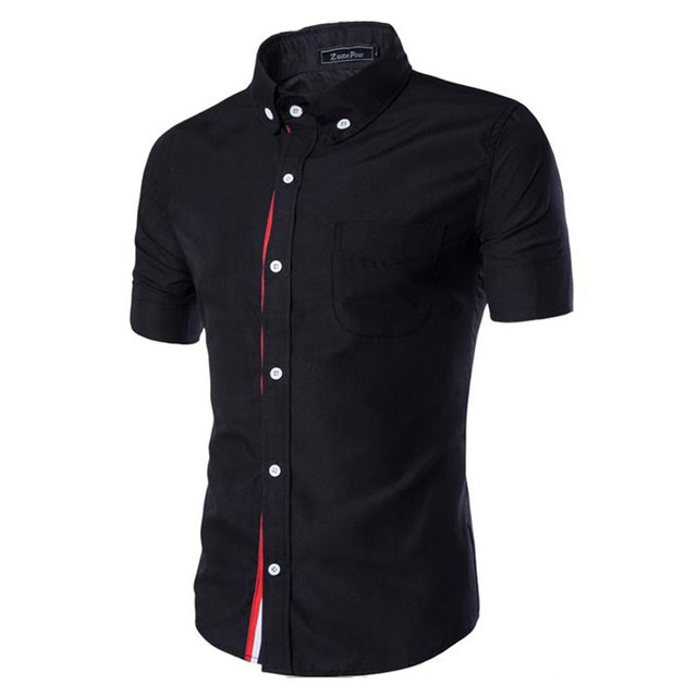 Men Shirt Designer Brand 2018 Male Short Sleeve Shirts Casual Slim Fit Black Dress Shirts Mens Hawaiian 3XL 3656