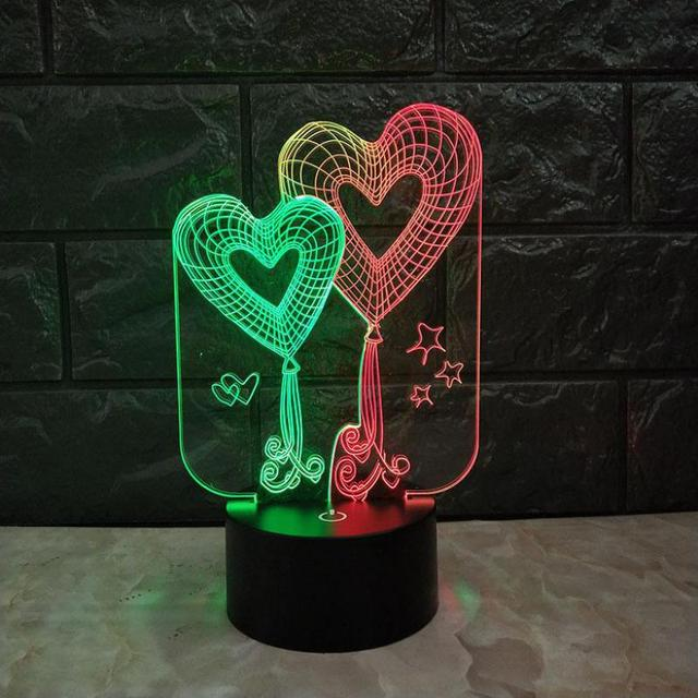 Creative 7 Color Touch Charging Led Table Lamps Birthday Gift 3d Desk Lamp New Heart To Match 3d Visual Night Light