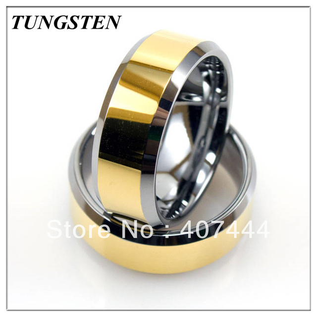YGK JEWELRY 10 pieces /lot 8MM Golden Tungsten Two-Tone Ring With High-Polish Finish Men's Ring Classic Wedding Ring
