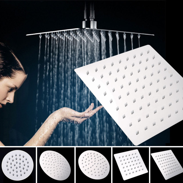 Bath Faucet Sprinkler 201 Stainless Steel Durable Adjustable Thin Top Shower Head for Home Supplies Bathroom High Pressure