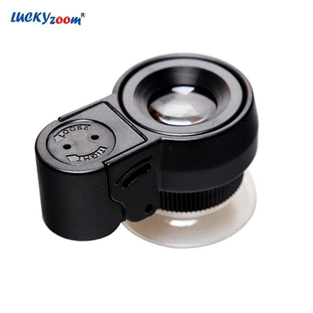 45X LED Illuminated Jewelry Magnifier Loupe UV Currency Detecting Pocket Microscope Magnifying Glass Zoom Coins Collection Lupa
