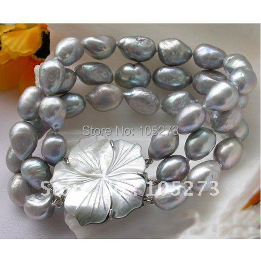 Charming Style 3Row AA 8-13MM Gray Baroque Freshwater Cultured Pearl Bracelet 8'inch Sea Shell Flower Clasp Free Shipping FN2028