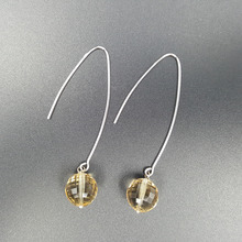 LiiJi Unique Clear Citrines Faceted 10mm beads 925 Sterling Silver Long Drop Earrings