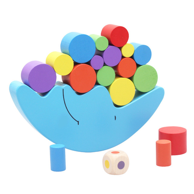 New Montessori Wood Moon Balance Game Kids wooden Educational Toys For Children Wooden Toys Balancing Blocks for Baby Children
