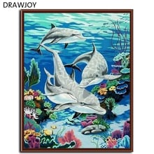 Frameless Picture Painting By Numbers DIY Canvas Oil Painting  Modern Style Of Dolphin Wall Art Home Decor For Living Room G046