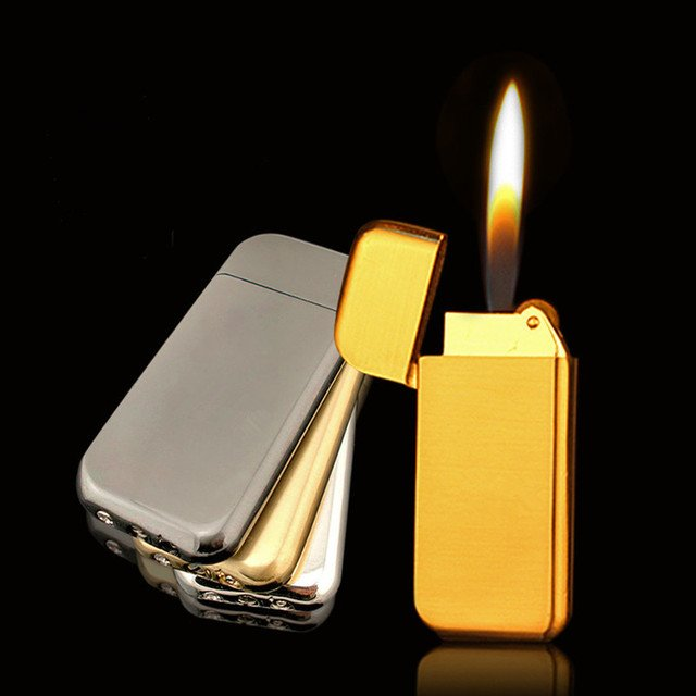Ultra Thin Compact Grinding Wheel Butane Lighter Inflated Gas Frosted Mini Lighter Metal NO GAS Cigarette Accessories