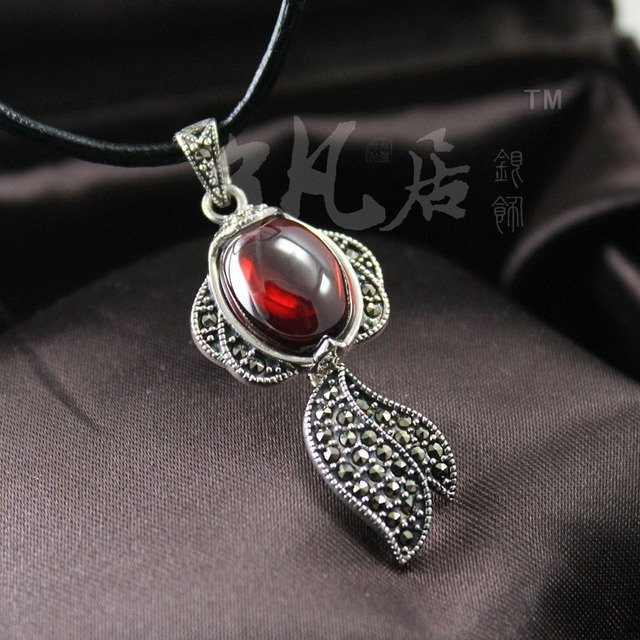 18*40MM fish shape 925 Sterling Silver Pendant 24*34MM Marcasite Natural semi-precious stones red corundum necklace with ch