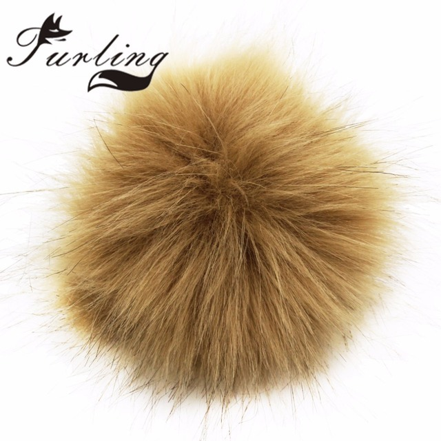 Furling DIY Faux Fox Fur 10cm Pom Pom Ball for Women Keychain -17colors