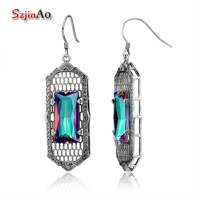 Szjinao Mystic Topaz Earrings For Women Bohemian Square Gemstone Rainbow Earring Drop Vintage 925 Sterling Silver Jewelry 2020