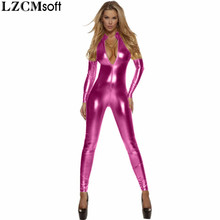 LZCMsoft Women Full Body Unitard Black Catsuit Bodysuit Long Sleeve Lycra Gold Front Zip Turtleneck Metallic Zentai Bodysuits
