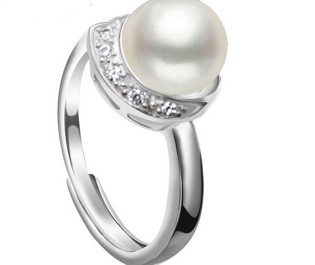 4 color Real Freshwater Pearl Ring FREE SIZE ADJUSTABLE Finger Ring Hot Cheap Sale Fashion Sterling Silver Jewelry