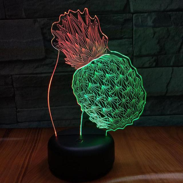 Pineapplecreative Table Lamp For Bedroom 7 Color Touch Charging  Desk Lamp Led Stereo Gift Atmosphere 3d Visual Nightlight