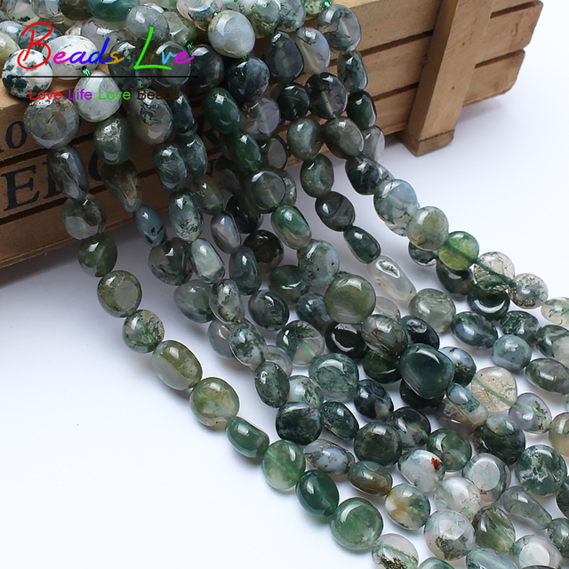 """8-10mm Irregular Moss Agata Onyx Beads Natural Stone Beads DIY Loose Spacer Beads For Jewelry Making Strand 15"""" Wholesale Perles"""