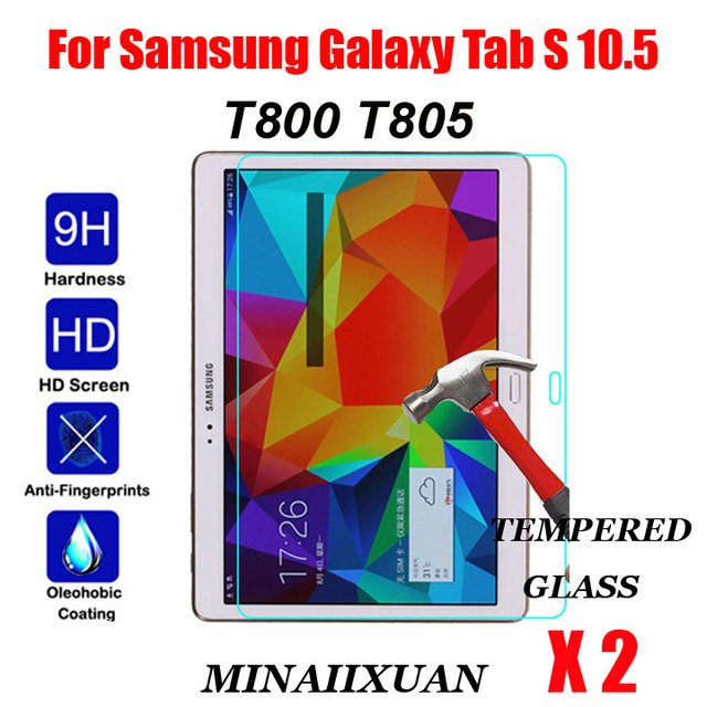 2Pcs 9H Tempered Glass For Samsung Galaxy Tab S 10.5 T800 T805 SM-T800 SM-T805 10.5 inch Tablet Screen Protector Protective Film