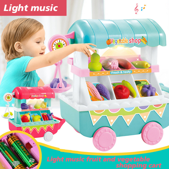 Music Fruit Collection Fashion Play House Toy Multi-Function Kids 9pcs/Set Music Trolley