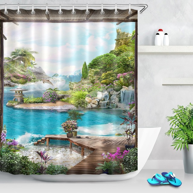 72'' Bathroom Waterproof Fabric Shower Curtain Polyester 12 Hooks Bath Accessory Sets Ancient Dais Blooming Flowers View Of Sea