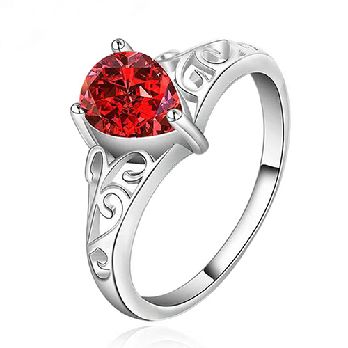 Red Waterdrop Shape Zircon Silver Plated Hollow Band Finger Ring Jewelry Gift
