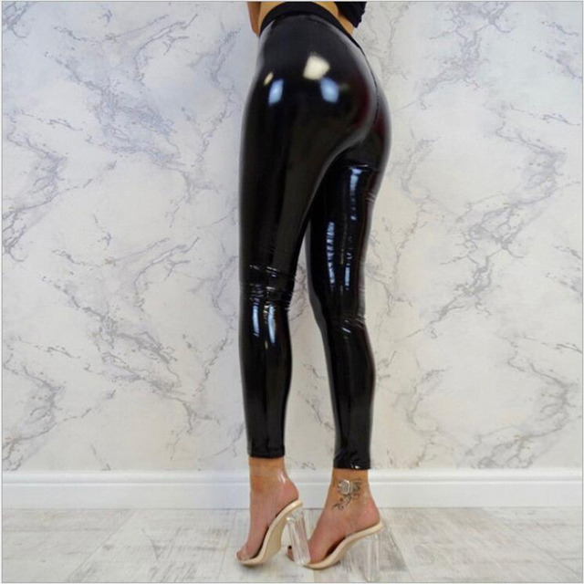 Women Punk Style Black Leggings Shine PU Leather Leggings Black Slim Long Pants Women Sexy Skinny Leggings