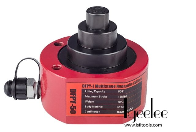 iGeelee Muti Stages Type Hydraulic Cylinder DFPY-201L Hydraulic Jack with tonnage of 10T, work travel of 28mm (No Pump)