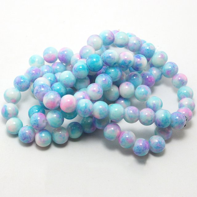 8MM 100pcs/lot blue Bead Round Assorted Colorful Glass Beads For Women Bracelet making Wholesale or Retail