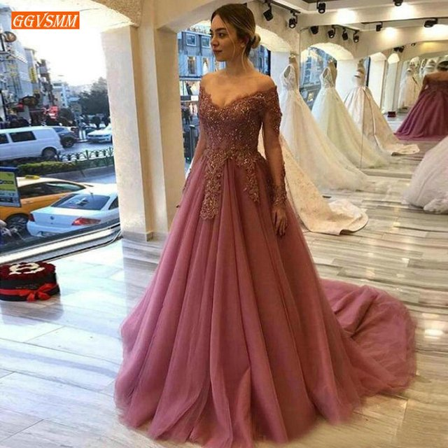 Aristocratic Off Shoulder Evening Gowns Long Sleeve Lace Appliques A Line Evening Dresses Custom Made Women Party Dress Formal