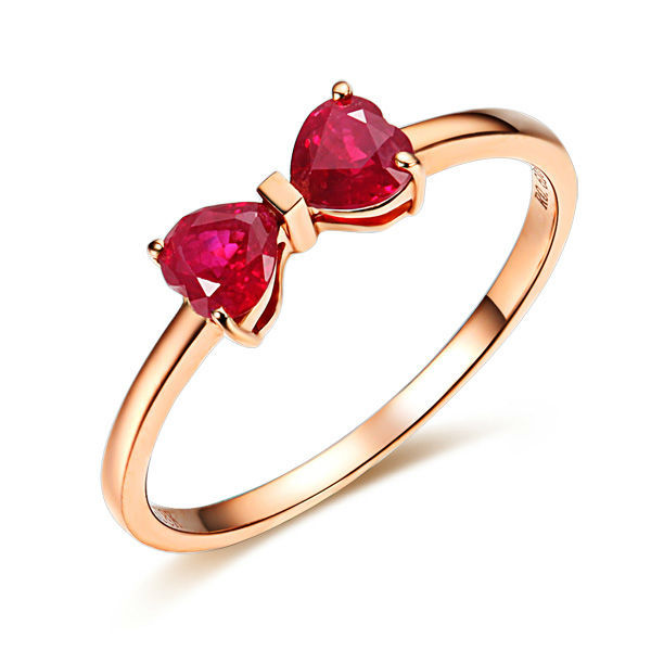 GVBORI 18K Rose Gold  Natural Two Heart Ruby Gemstone  Ring For Women  daughter Wedding Ring Fine Jewelry  Valentine bow ring
