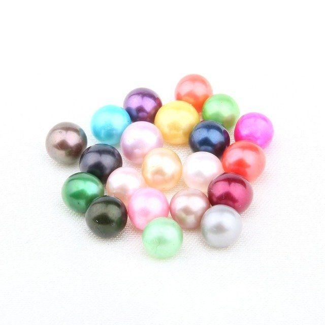 No Hole Cultured Freshwater Pearl Beads Natural Pearl 7-8 mm Colorful Pearl Sold By PC