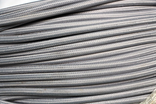 5m/lot gray color VDE certified 2 core Round Textile Electrical Wire Color Braided Wire Fabric Cable Vintage Lamp Power Cord