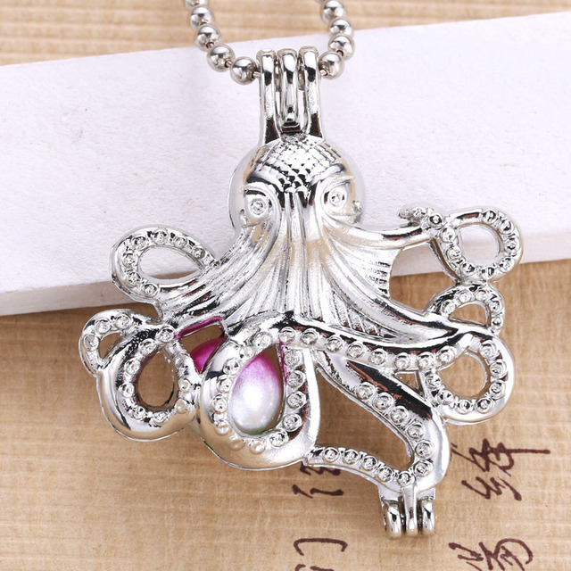6pcs Sitting octopus Pearl Cage Jewelry Making Supplies Bead Cage Locket Pendant Essential Oil Diffuser For Oyster Pearl