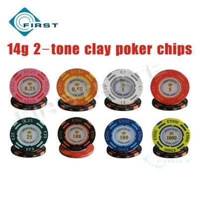 China Poker Manufacturer Selling! Gaming Poker 14g Clay Material 2 Tone fisch Poker Chips Free Shipping
