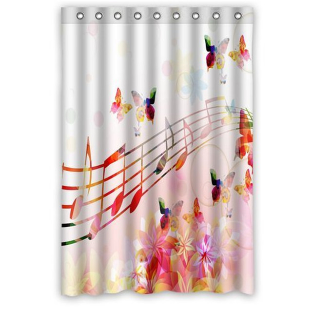Custom Waterproof Bathroom Butterfly Music Note Shower Curtain Polyester Fabric Shower Curtain