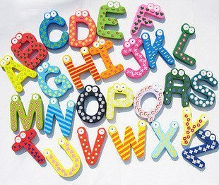 Wholesale Early Learning Letter Toys Magnetic Fridge Magnets Refrigerator Wooden Hot Sale 10SETS/LOT