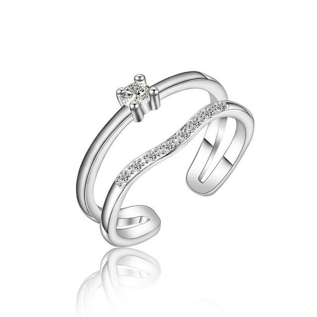 New arrival best sell fashion shiny zircon 925 sterling silver ladies`finger rings wedding gift wholesale drop shipping