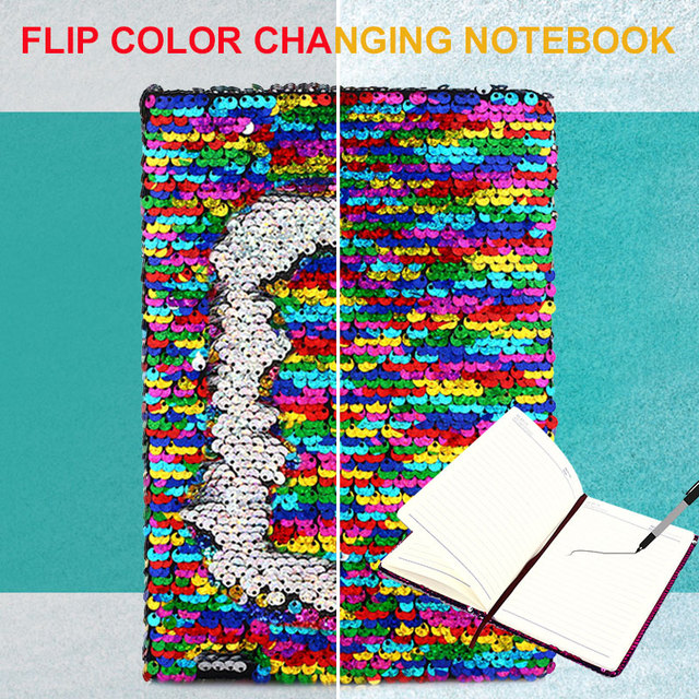 Universal Sequins Diary Notebook Stationery A5 Sequins Writing Notebook Student Glitter Sequins Diary Notepad Daily Memos
