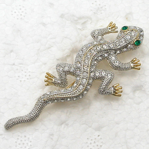 12pcs/lot Wholesale Fashion Brooch Crystal Rhinestone Gecko Pin brooches Jewelry gift C102144