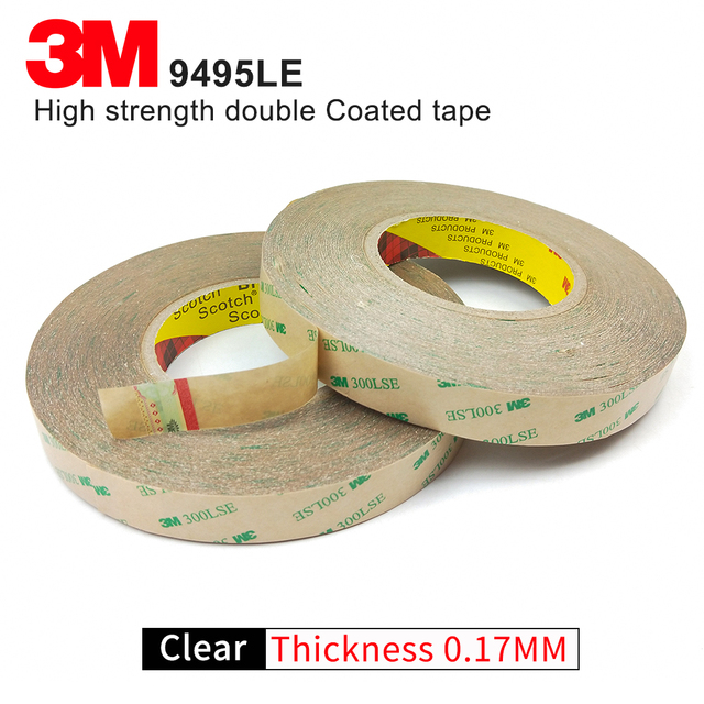 100% Original 3M 9495LSE Double faces transparent adhesive tape/10mm*55M/we can offer you other size