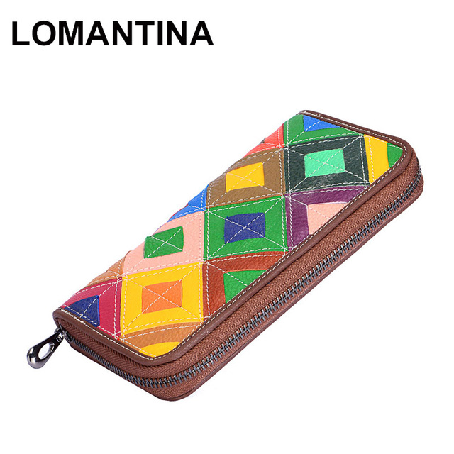 LOMANTINA Genuine Leather Women Wallet Female Long Clutch Lady Walet Portomonee Colorful Patchwork Money Bag Zipper Phone Purse