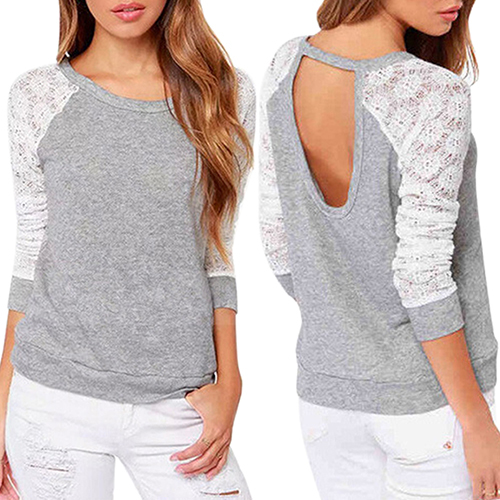 Women's Long Sleeve Sexy Lace Shirts Backless Embroidery Knitted Tops Pullover