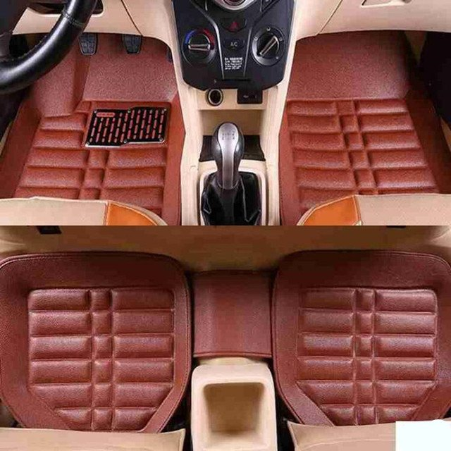 5pcs Brown Trucks FloorLiner Driver Floor Mat Auto Carpet Accessories Foot Pad Driving Front and Rear Waterproof