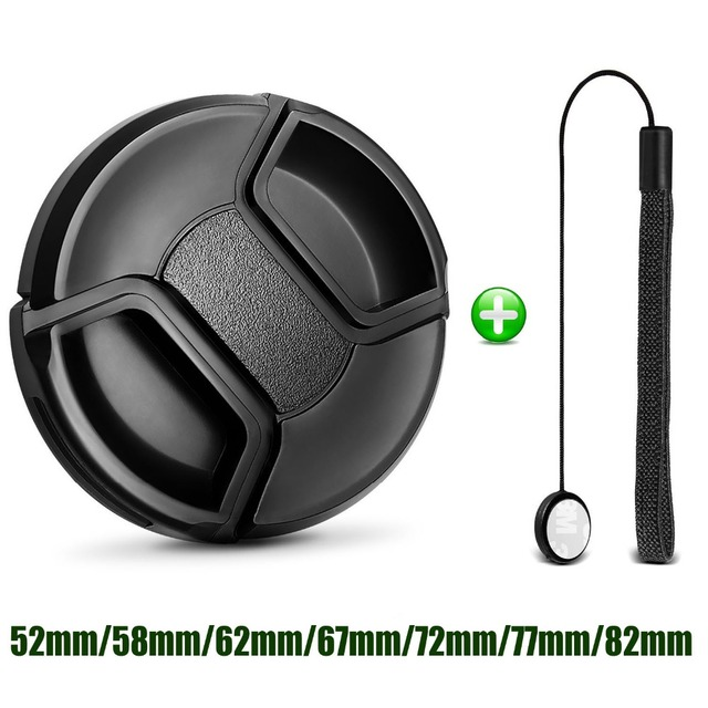Camera Lens Cap Protection Cover 52MM 55MM 58MM 62MM 67MM 72MM 77MM 82MM Anti-lost Rope for Canon Nikon Sony Accessories