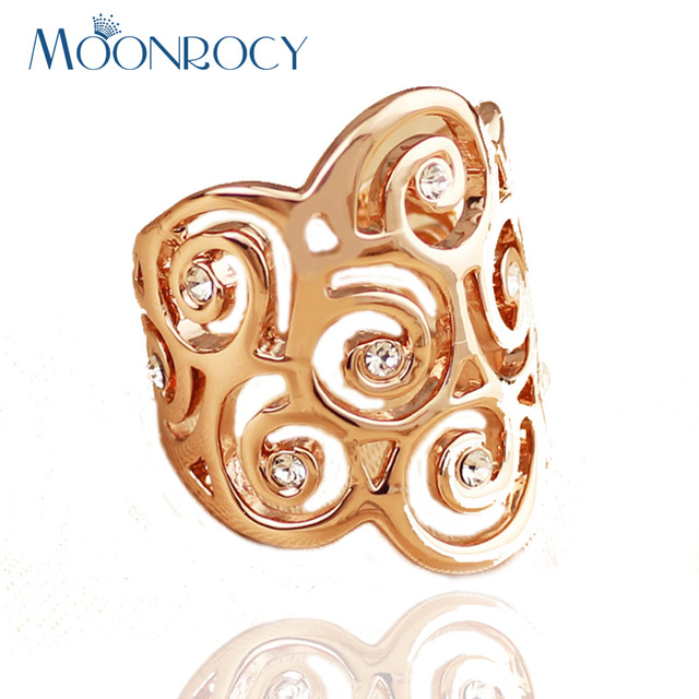 MOONROCY Rose Gold Color Drop Shipping Vintage Hyperbole Cubic Zirconia Austrian Crystal Rings Fashion Jewelry For Women Gift
