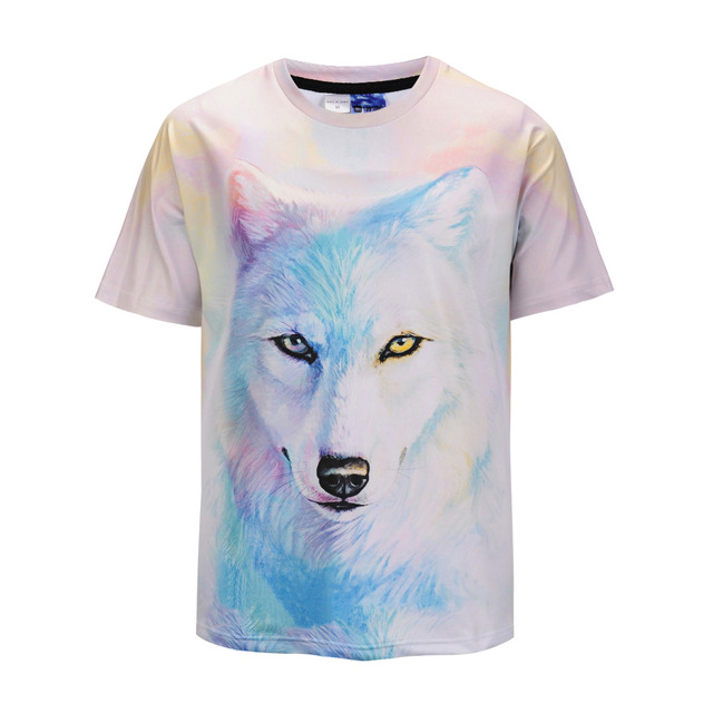Mr.1991INC 3d T-shirt Summer Cool Comfortable 3D Snow Wolf Print Short Sleeve T-shirt Mens Clothing Casual Fitness TeeTops
