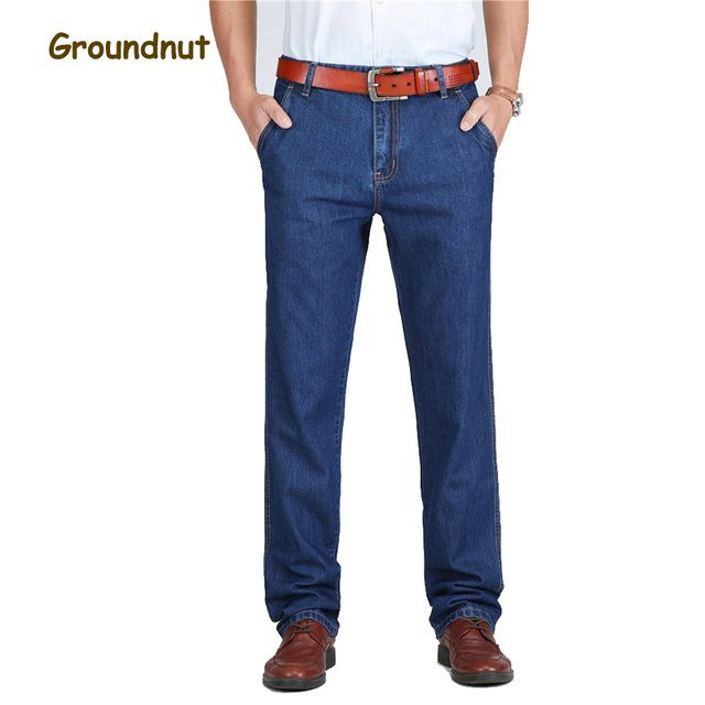 Groundnut Brand 100% Pure Cotton Business Straight Leg Long Jeans Men Summer Designer Clothes Denim Pants Male Casual Trousers