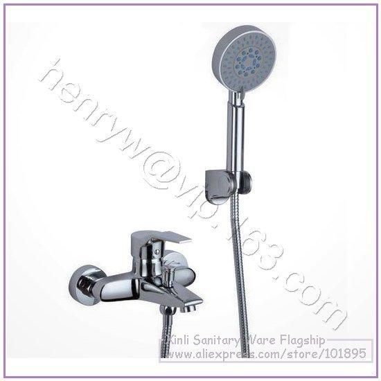 X8221BS - Luxury Wall Mounted Chrome Color Brass Material Bath With Shower Faucet