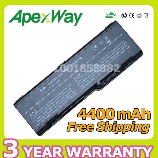 Apexway NEW 6 cell laptop battery for Dell Inspiron 6000 9200 310-6321 310-6322 312-0340 D5318 G5260 G5266 U4873