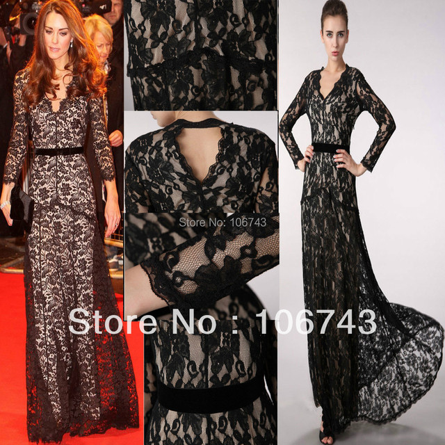 free shipping new black plus size Lace Long-sleeve Formal Prom Maxi Ball Women mermaid gown evening mother of the bride dress