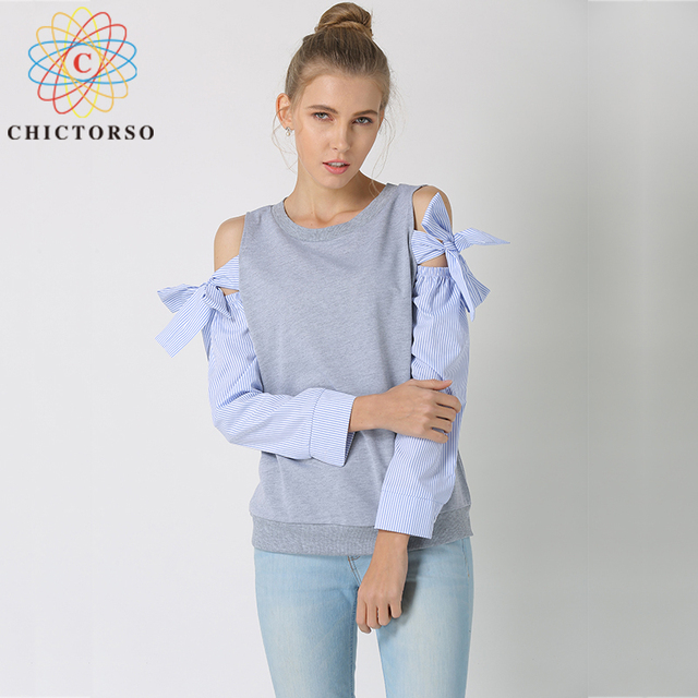 Chictorso Lovely Bow Tie Long Sleeve T Shirt Women T-shirts Round Neck Fashion Summer Top Plus Size Pullovers Korean Style Shirt
