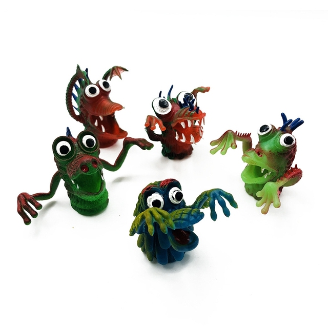 Finger Puppets Finger Toy Puppets Simulation Monster Fingers Dolls Animal Silicone Funny Child Favor Dolls Telling Storys Puppet