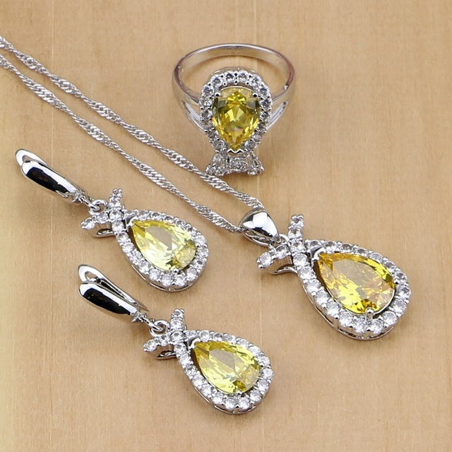 925 Sterling Silver Jewelry Natural Yellow Crystal White CZ Jewelry Sets For Women Wedding Earrings/Pendant/Necklace/Rings